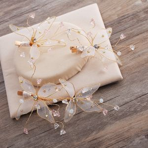 Härlig Glamorös Guld Fjäril Hårsmycken 2019 Handgjort Beading Kristall Rhinestone Bröllop Afton Bal Tillbehör