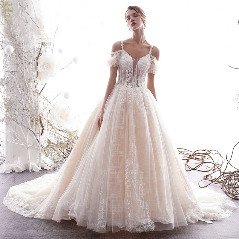 Charming Champagne Wedding Dresses 2019 A-Line / Princess Spaghetti Straps Beading Tassel Sequins Lace Flower Short Sleeve Backless Cathedral Train
