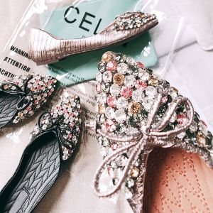 Chic / Beautiful Blushing Pink Casual Womens Shoes 2018 Polyester Rhinestone Bow Pointed Toe Flat
