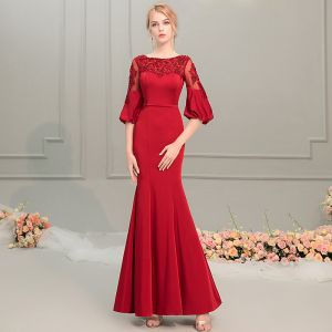 Elegant Red Evening Dresses  2019 Trumpet / Mermaid Scoop Neck Puffy 1/2 Sleeves Appliques Lace Beading Sash Floor-Length / Long Ruffle Backless Formal Dresses