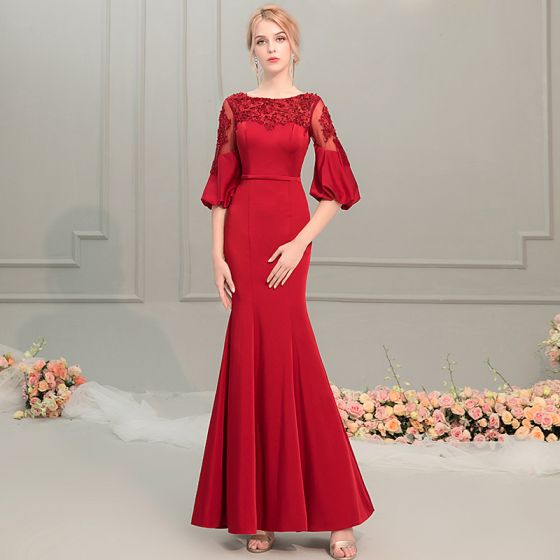 424c24fb4cc Elegant Red Evening Dresses 2019 Trumpet   Mermaid Scoop Neck Puffy 1 2  Sleeves Appliques Lace Beading ...