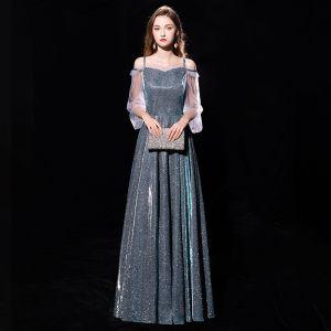 Modern / Fashion Dark Green Evening Dresses  2019 A-Line / Princess Off-The-Shoulder Spaghetti Straps Puffy 3/4 Sleeve Glitter Polyester Metal Sash Floor-Length / Long Ruffle Formal Dresses