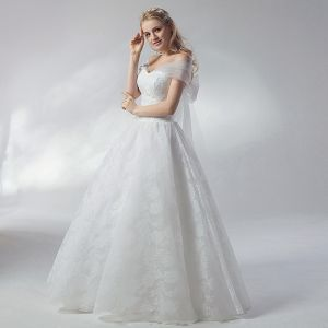 Affordable White Wedding Dresses 2018 Ball Gown Bow Off-The-Shoulder Backless Short Sleeve Floor-Length / Long Wedding
