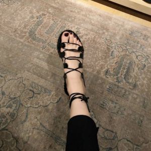 Amazing / Unique 2017 Black Beach PU Summer Strappy Flat Platform Flat Open / Peep Toe Womens Sandals