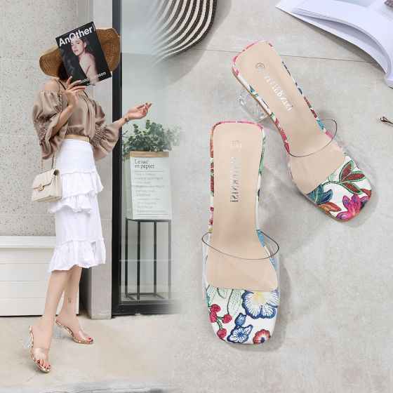 Transparent Casual Womens Sandals 2020 8 cm Thick Heels Open / Peep Toe Sandals