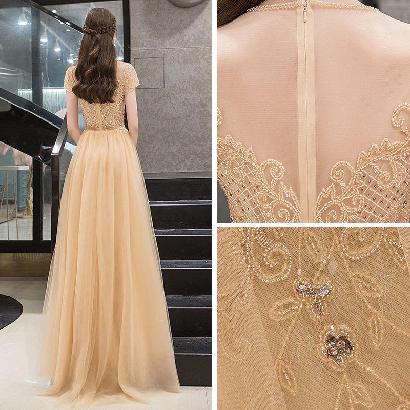 Illusion Gold See-through Evening Dresses  2019 A-Line / Princess Scoop Neck Short Sleeve Rhinestone Beading Sweep Train Ruffle Formal Dresses