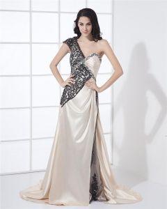 Charmeuse Applique Asymmetrischen Ausschnitt Sleeveless rückenfrei Reißverschluss Hofzug Schlitz Promi-kleid
