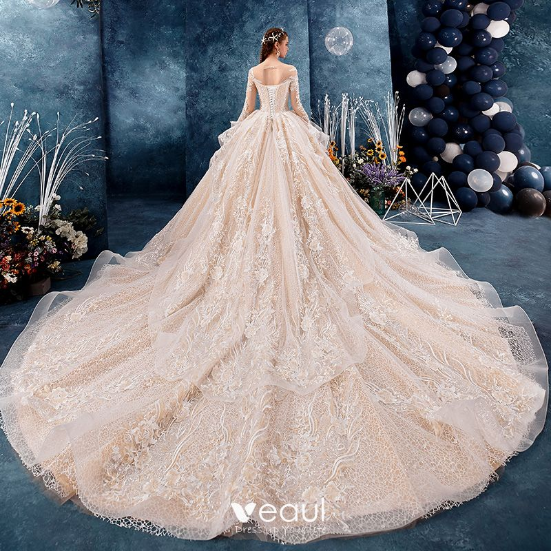 See Through Wedding Gown: Romantic Champagne See-through Wedding Dresses 2019 Ball