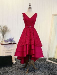 Elegant Red Cocktail Dress 2017 Lace Cascading Ruffles Backless High Low Party Dress