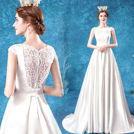 Affordable Ivory Satin Bridal Wedding Dresses 2020 A-Line / Princess Scoop Neck Sleeveless Pierced Appliques Lace Sweep Train Ruffle