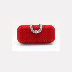 Red Handgewebte Seide Bankett Tasche Kleid Verfügt Diamant Cikou Clutch Tasche Clutch-taschen