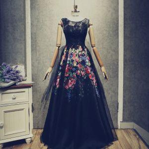 Vintage Czarne Sukienki Na Bal 2018 Princessa Frezowanie Z Koronki Kwiat Druk Wycięciem Bez Pleców Bez Rękawów Długie Sukienki Wizytowe