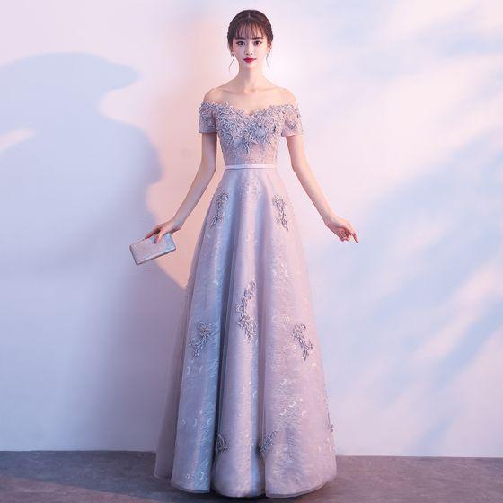 Piękne Szary Sukienki Wieczorowe 2017 Princessa Z Koronki Aplikacje Frezowanie Kryształ Przy Ramieniu Bez Pleców Kótkie Rękawy Długość Kostki Sukienki Wizytowe