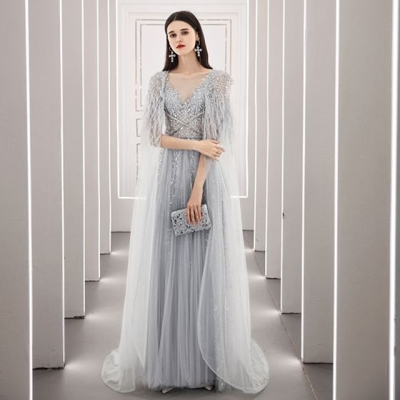 High-end Grey See-through Red Carpet Evening Dresses  With Shawl 2020 A-Line / Princess Scoop Neck Sleeveless Feather Beading Sequins Sweep Train Ruffle Formal Dresses
