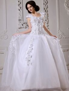 2015 Applique Sweetheart Satin Sweep Train A Line Bridal Gown Wedding Dresses
