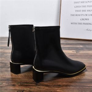 Chic / Beautiful Black Casual Womens Boots 2020 Leather 4 cm Stiletto Heels Pointed Toe Boots