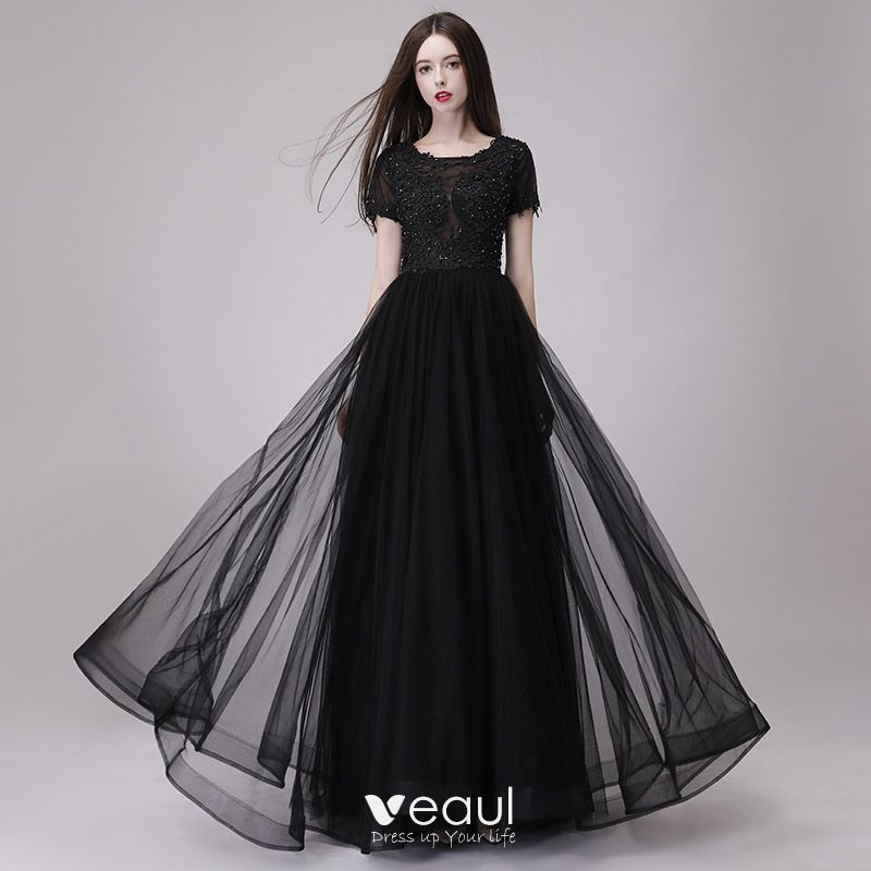 2018 Line De Princess Asequible Negro Escote Vestidos Gala