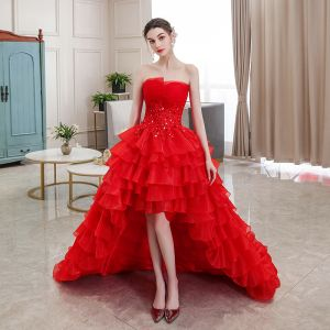 Affordable Red Bridal Wedding Dresses 2020 Ball Gown Strapless Sleeveless Backless Appliques Lace Rhinestone Asymmetrical Cascading Ruffles