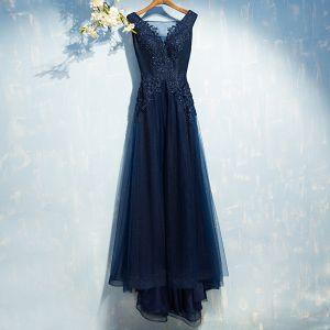 Klasyczna Granatowe Sukienki Wizytowe 2017 Z Koronki Koronkowe Kwiat Cekiny Bez Rękawów Princessa Sukienki Wieczorowe