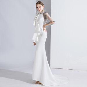 Mode Weiß Abendkleider 2020 Meerjungfrau Rundhalsausschnitt Perlenstickerei Kurze Ärmel Sweep / Pinsel Zug Festliche Kleider