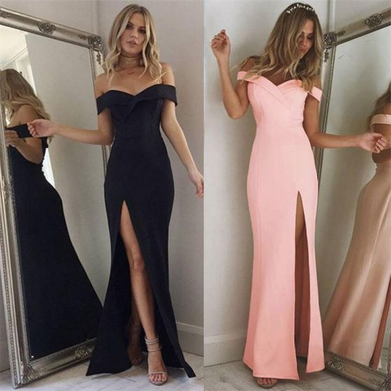 Sexy Candy Pink Maxi Dresses 2018 Trumpet / Mermaid Split Front Off-The-Shoulder Backless Short Sleeve Floor-Length / Long Women's Clothing