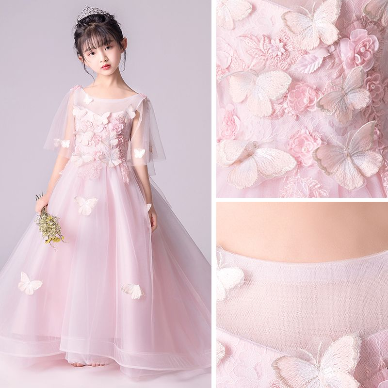 Elegant Blushing Pink See-through Flower Girl Dresses 2019 A-Line / Princess Scoop Neck 1/2 Sleeves Butterfly Appliques Lace Pearl Floor-Length / Long Ruffle Backless Wedding Party Dresses