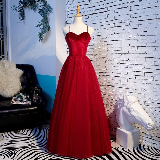 Schlicht Rot Ballkleider 2020 A Linie Spaghettiträger Ärmellos Lange Rückenfreies Rüschen Festliche Kleider