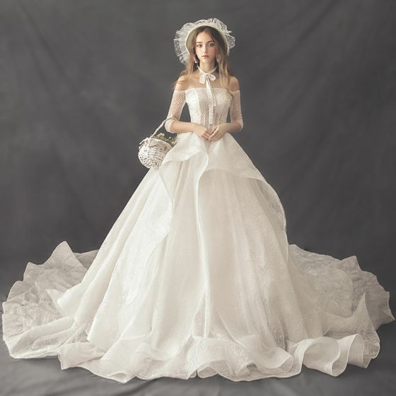 Luxury / Gorgeous Ivory Wedding Dresses 2019 A-Line / Princess Off-The-Shoulder 3/4 Sleeve Backless Beading Pearl Cathedral Train Ruffle