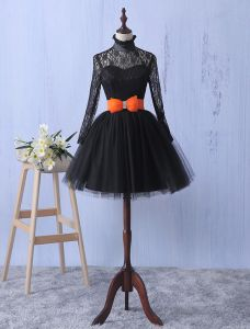 Elegante Kant Feestjurk Met Strik-knoop Little Black Dress Met Lange Mouwen