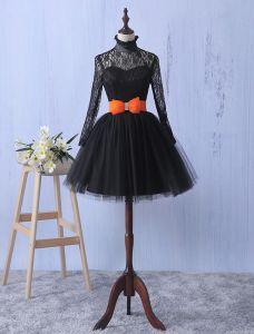 Elegante Kant Feestjurk Met Strik-knoop Little Black Dress Met Lange Mouwen