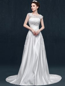 A-line Square Neckline Appliques Lace Ruffles Sash Satin Wedding Dress