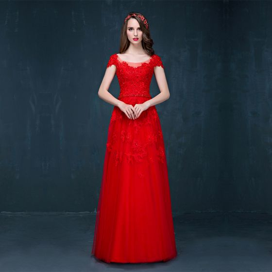 Chic / Beautiful Red Evening Dresses  2017 A-Line / Princess Scoop Neck Short Sleeve Appliques Lace Rhinestone Sash Floor-Length / Long Backless Formal Dresses