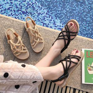 Romain Beige Plage Tresser Plate Chaussures Femmes 2020 Peep Toes / Bout Ouvert Plat Pantoufle & Tongs