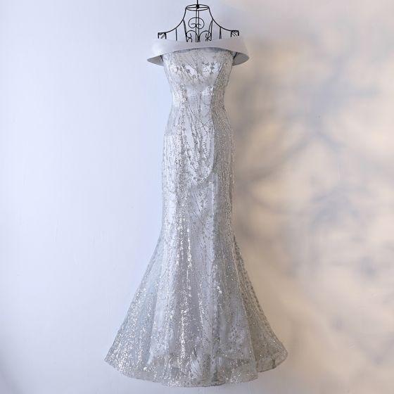 Amazing / Unique Silver Evening Dresses  2017 Sequins Crossed Straps Sleeveless Square Neckline Floor-Length / Long Trumpet / Mermaid Formal Dresses
