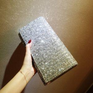 Sparkly Glitter Rhinestone Silver Clutch Bags 2018