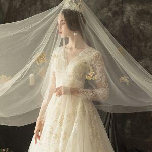 Illusion Ivory Pierced Wedding Dresses 2019 A-Line / Princess V-Neck Long Sleeve Backless Appliques Lace Beading Chapel Train Ruffle