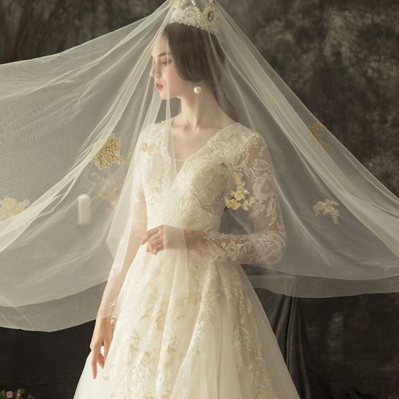 Illusion Ivory Pierced Wedding Dresses 2019 A-Line / Princess V-Neck Long Sleeve Backless Appliques Lace Beading Chapel Train Ruffle