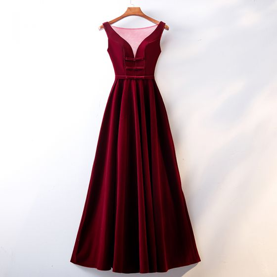 Chic / Beautiful Burgundy Evening Dresses  2019 A-Line / Princess Scoop Neck Suede Bow Sleeveless Backless Floor-Length / Long Formal Dresses