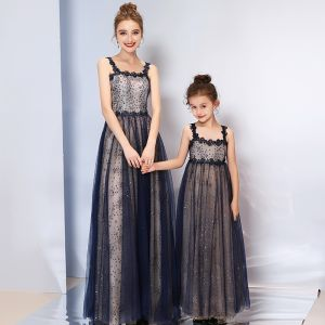 Bling Bling Navy Blue Evening Dresses  2019 A-Line / Princess Shoulders Sleeveless Glitter Tulle Floor-Length / Long Ruffle Backless Formal Dresses