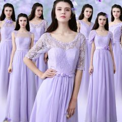 Modest / Simple Lavender Chiffon Bridesmaid Dresses 2019 A-Line / Princess Floor-Length / Long Ruffle Backless Wedding Party Dresses