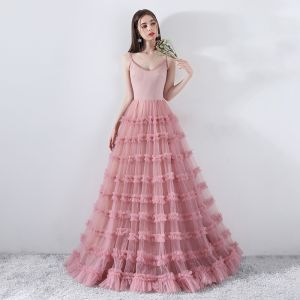 Modest / Simple Blushing Pink Formal Dresses 2018 A-Line / Princess Spaghetti Straps Backless Sleeveless Floor-Length / Long Prom Dresses