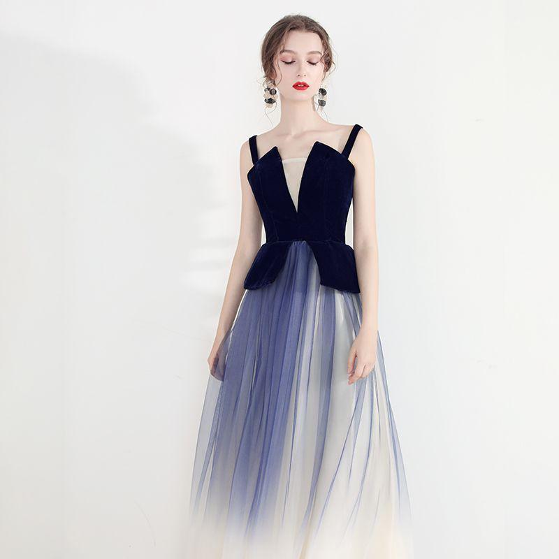 Chic / Belle Bleu Marine Dégradé De Couleur Robe De Soirée 2019 Princesse Bretelles Spaghetti Sans Manches Dos Nu Longue Robe De Ceremonie