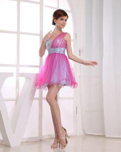 Gauze Silk Like Satin Beadings Sequins Sweetheart Sleeveless Zipper Short Pleated Cocktail Dress