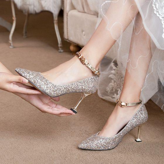 Scintillantes Or Rose Paillettes Chaussure De Mariée 2020 8 cm Talons Aiguilles À Bout Pointu Mariage Escarpins