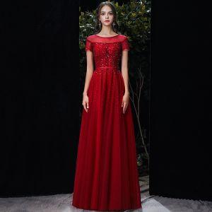 Chic / Belle Rouge Transparentes Robe De Soirée 2020 Princesse Encolure Dégagée Manches Courtes Paillettes Perlage Longue Volants Robe De Ceremonie