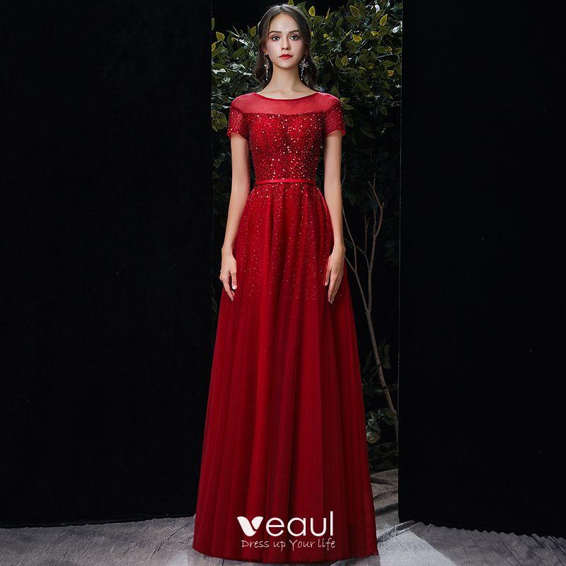 Chic Belle Rouge Transparentes Robe De Soiree 2020 Princesse Encolure Degagee Manches Courtes Paillettes Perlage Longue
