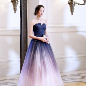 Chic / Beautiful Gradient-Color Evening Dresses  2018 A-Line / Princess Lace Flower Strapless Backless Sleeveless Floor-Length / Long Formal Dresses