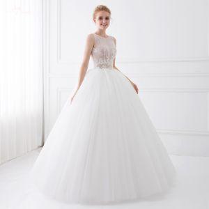 Chic / Beautiful Black Wedding Dresses 2018 Ball Gown Beading Lace Flower Scoop Neck Sleeveless Floor-Length / Long Wedding