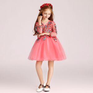 Schöne Wassermelone Mädchenkleider 2017 Ballkleid V-Ausschnitt Lange Ärmel Applikationen Mit Spitze Perle Strass Kurze Rüschen Kleider Für Hochzeit
