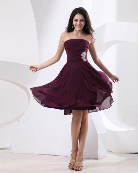 Chiffon Ruffle Sleeveless Strapless Knee Length Bridesmaid Dresses